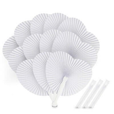 12 sets Handheld Paper Hand Folding Fan Wedding Favor Party Bridals Summer DIY