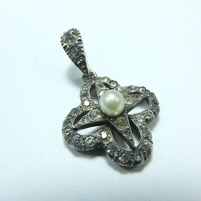 Fabulous Antique Victorian Silver Diamond Paste & Pearl Star Pendant Marked 900