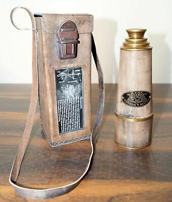 "Kelvin & Hughes Antique 20"" Telescope Maritime Nautical Brass with Leather Case"