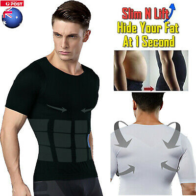 Men Slimming Body Chest Ultra Lift Shaper Compression Undershirt Belly Tank Tops