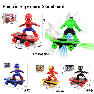 Electric Skate Spiderman Walking Electronic Toys + Music + Light + Auto-Spinning