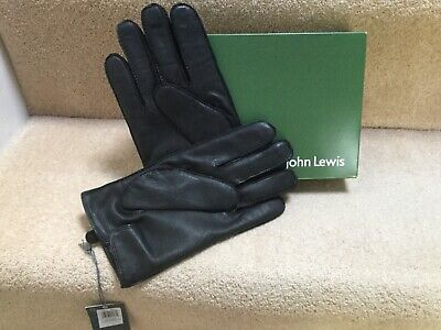 JOHN LEWIS BNWT Boxed Black Leather Gloves Cashmere Lined XL