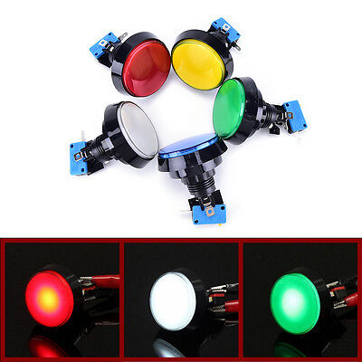 60mm LED Light Big Round Arcade Video Game Player Push Button Switch Lamp QY