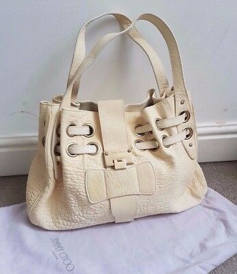 Jimmy Choo Cream Handbag Embossed Leather Large Tote  Bag + dust Bag