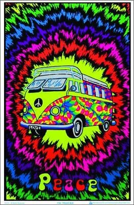 Peace Bus - Blacklight Poster - 23X35 Flocked Psychedelic 1744