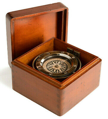 "Bronze Lifeboat Compass In Antiqued Wooden Case 4.7"" Nautical Decor Gift New"