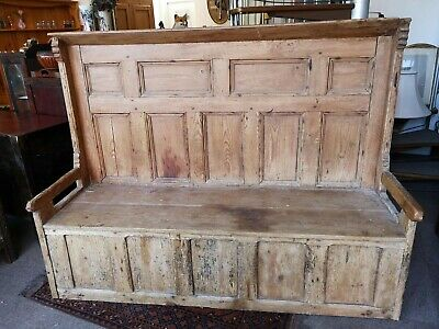 Antique Victorian Pine Monks Bench / Pew / Bench / Settle. Full of charactor