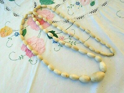 """Heavy Antique Chinese Oval Carved Bovine Bone Bead Necklace - 112 Grams.- 45"""""""