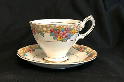 Vintage ROYAL ALBERT TEACUP SAUCER SET Floral yellow backstamp 1940s 2534
