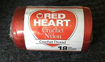 Red Heart Crochet Nylon Thread Size 18 0091 Red 150 Yds 1 Roll New