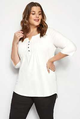 Yours Clothing Womens Black Pleated Top Pintuck Jersey 3//4 Plus Size Uk 18-36