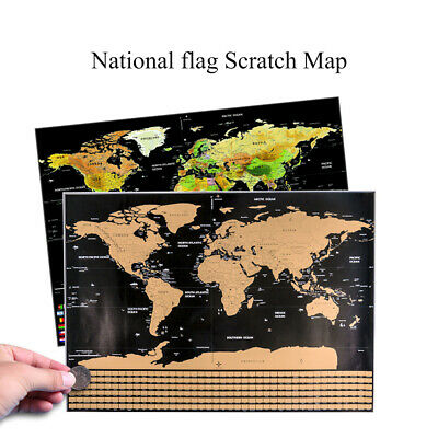 Travel Tracker Big Scratch Off World Map Poster with US States Country Flags S