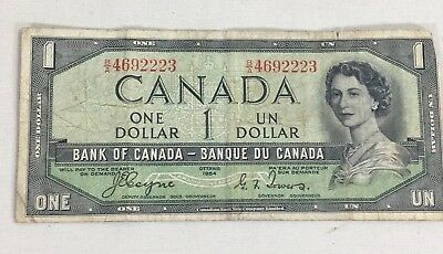 Canadian banknote 1954 paper money 1 dollar Coyne Towers BA 4692223 devils face
