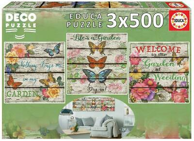 Educa Childrens 3 x 500 Enchanted Moments Gail Marie Deco Puzzle