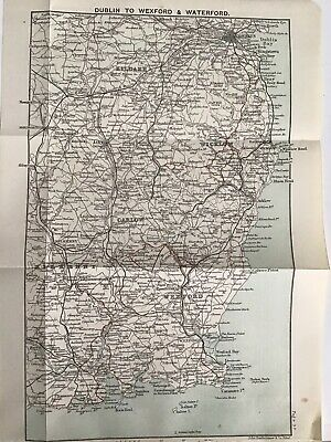 1894 Original Antique County Map Ireland, Dublin to Wexford and Waterford