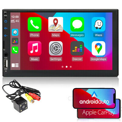 7''2 Din Car Radio Carplay Siri Android+Camera BT MP5 Player FM iOS Mirror Link