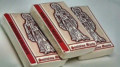 SANTISIMA MUERTE PRAYER CARDS set of 2 RED ASPECT card santa