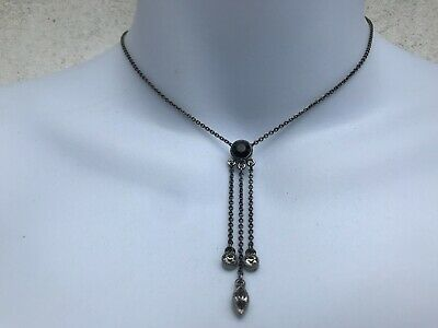 Capiz Lovely Vintage Antique Victorian Style Black Silver Drop Diamante Necklace