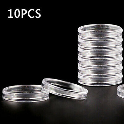 Lots 10/100Pcs 40mm Plastic Clear Round Cases Coin Storage Capsules Ring Holder