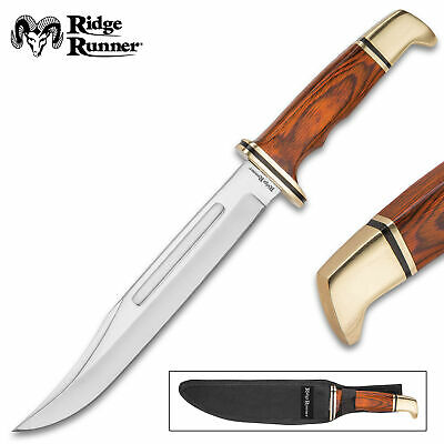 "12"" Wood Full Tang Fixed Blade Bowie Knife w/ Sheath Rambo Hunting Survival"