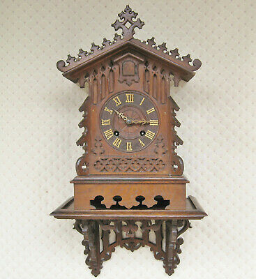 Antique Oak Cuckoo Clock with Original Wall Bracket - unusual brass movement