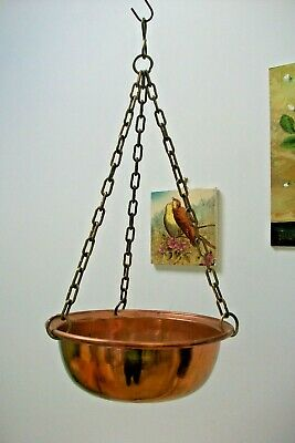 Vintage Copper hanging planter with heavy brass chain 9S