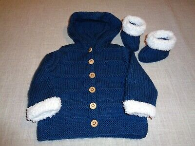 Baby Hand knitted Jacket/Coat  Blue/Fluffy Cuffs and Matching Bootees 3-6mths