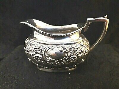 Antique Silver Plate Repousse Creamer Jug Stamped Leddell & Dover London 257