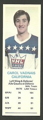 Carol Vadnais California Golden Seals 1970-71 Dad's Cookies Hockey Card EX/MT