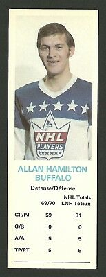 Allan Hamilton Buffalo Sabres 1970-71 Dad's Cookies Hockey Card EX/MT