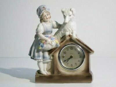 Antique Tabletop Clock with Statue Porcelain Dog Little Girl Period First Xx