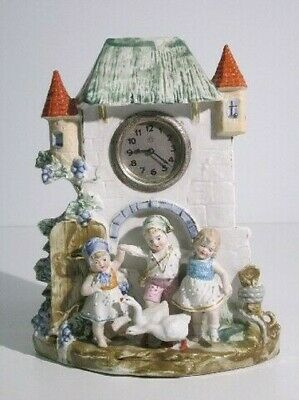 Antique Tabletop Clock Castle Porcelain with Children First Xx Century