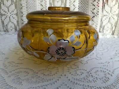 *** Vintage Gone With The Wind Hurricane Amber Hand Painted Glass Lamp Base