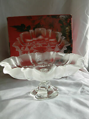 """Mikasa Christmas Story Bon Bon frosted & Clear Footed Serving Dish Plate 9 3/4"""""""