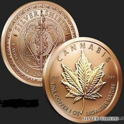 copper x1oz 2018 cannibis coin .999 pure with bag and plastic case
