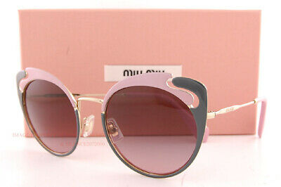 MIU MIU Sunglasses New Pink Amaranth Crystal Stone Grey MU 05TS USH146 55 140