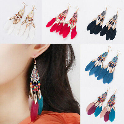 Womens Elegant Boho Earrings Multi-color Long Tassel Fringe Feather Drop Jewelry
