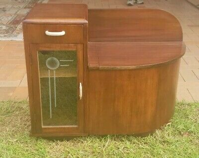 40s Restored Art Deco Telephone Table - Hall Cabinet with Seat
