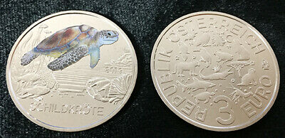 Austria 3 Euro 2019 Tortoise Turtle Colorful Creatures Glow In The Dark Coin Unc