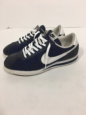 09357f29 VTG NIKE CANVAS Shoes Sz 7.5 1970s Athletic Trainers White Baby Blue ...