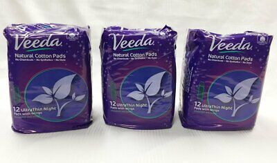 Veeda Natural Cotton UltraThin Night Pads with Wings, Unscented, 3 Packs
