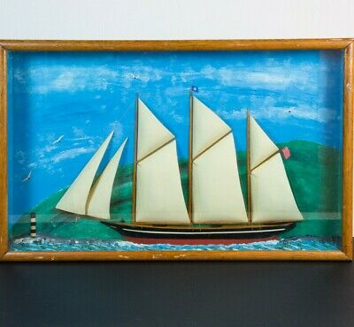 late 19th C./early 20th C. Ship Diorama of 3-Masted Schooner