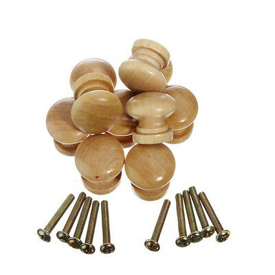 10Pcs 36mm Large Wood Door Knob Wooden Round Cupboard Drawer Pull Handle EK5X