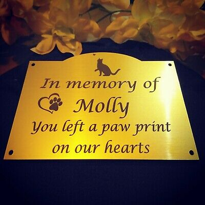 engraved Pet human Memorial Plaque personalised Dog Cat grave marker 100 x 80 mm