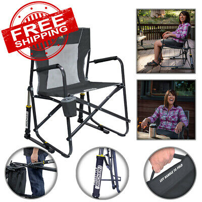 Portable Collapsible Rocking Chair Outdoor Sports Camping Patio Seat Cup Holder