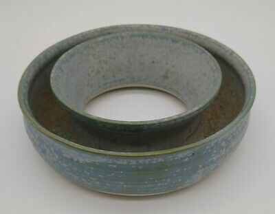 Vintage Hand Made Australian Pottery ROSE/Posy Ring Pale blue - green glaze vase
