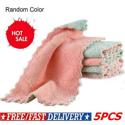 5PCS Super Absorbent Microfiber Kitchen Cloth Dish Cleaning Towel Household Y9L3