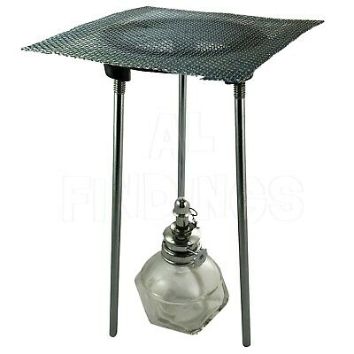 "Jewellers Tools 1/4"" adjustable Bunsen Burner/Alcohol Lamp Tripod & Mesh Gauze."