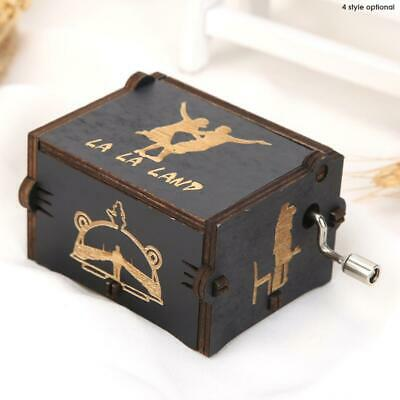 Vintage Wooden Hand Cranked Music Box Retro Home Ornaments Crafts Kids Gifts