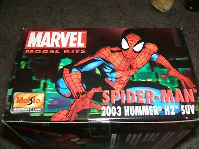 new SPIDERMAN Marvel Model KIT by Maisto 1:27 scale 2003 HUMMER H2 SUV black NIB